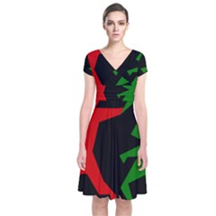 Ninja Graphics Red Green Black Short Sleeve Front Wrap Dress