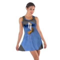 Low Poly Boat Ship Sea Beach Blue Cotton Racerback Dress by Alisyart