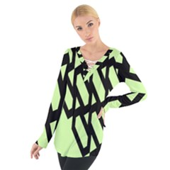 Polygon Abstract Shape Black Green Women s Tie Up Tee