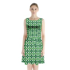 Green White Wave Sleeveless Chiffon Waist Tie Dress by Alisyart