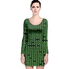 Pipes Green Light Circle Long Sleeve Velvet Bodycon Dress by Alisyart