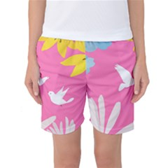 Spring Flower Floral Sunflower Bird Animals White Yellow Pink Blue Women s Basketball Shorts by Alisyart