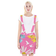 Spring Flower Floral Sunflower Bird Animals White Yellow Pink Blue Suspender Skirt