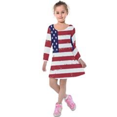 Flag United States United States Of America Stripes Red White Kids  Long Sleeve Velvet Dress by Simbadda