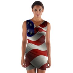 Flag United States Stars Stripes Symbol Wrap Front Bodycon Dress by Simbadda