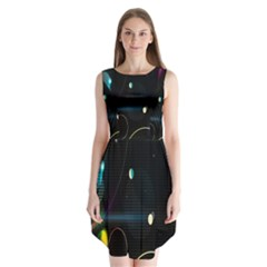 Glare Light Luster Circles Shapes Sleeveless Chiffon Dress   by Simbadda
