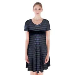 Hexagonal White Dark Mesh Short Sleeve V Neck Flare Dress by Simbadda