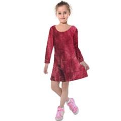 Red Background Texture Kids  Long Sleeve Velvet Dress by Simbadda