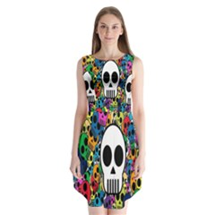 Skull Background Bright Multi Colored Sleeveless Chiffon Dress   by Simbadda