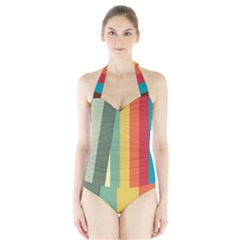 Texture Stripes Lines Color Bright Halter Swimsuit by Simbadda
