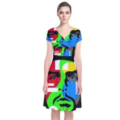 Che Guevara Short Sleeve Front Wrap Dress by Valentinaart