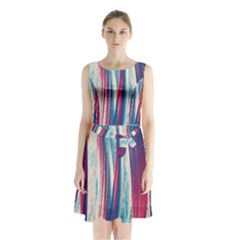 Pattern Sleeveless Chiffon Waist Tie Dress by Valentinaart
