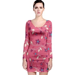 Floral Pattern Long Sleeve Bodycon Dress by Valentinaart