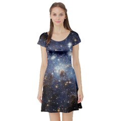 Large Magellanic Cloud Short Sleeve Skater Dress by SpaceShop