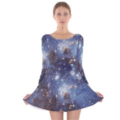 Large Magellanic Cloud Long Sleeve Velvet Skater Dress by SpaceShop