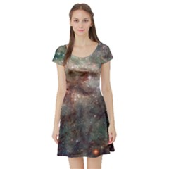 Tarantula Nebula Short Sleeve Skater Dress by SpaceShop