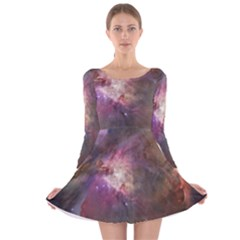 Orion Nebula Long Sleeve Velvet Skater Dress by SpaceShop