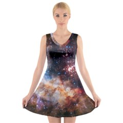 Celestial Fireworks V Neck Sleeveless Skater Dress by SpaceShop