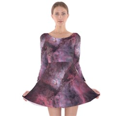Carina Peach 4553 Long Sleeve Velvet Skater Dress by SpaceShop