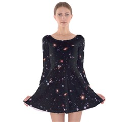 Extreme Deep Field Long Sleeve Velvet Skater Dress by SpaceShop