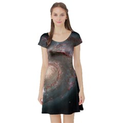 Whirlpool Galaxy And Companion Short Sleeve Skater Dress by SpaceShop