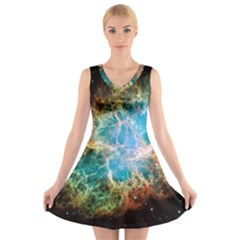 Crab Nebula V Neck Sleeveless Skater Dress by SpaceShop
