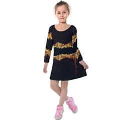 Waste Incineration Incinerator Kids  Long Sleeve Velvet Dress by Simbadda