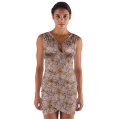 Nature Collage Print Wrap Front Bodycon Dress by dflcprintsclothing