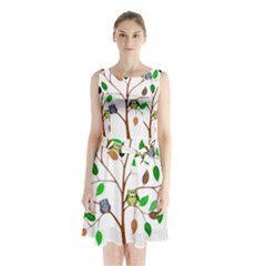 Tree Root Leaves Owls Green Brown Sleeveless Chiffon Waist Tie Dress by Simbadda
