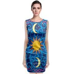 Sun Moon Star Space Purple Pink Blue Yellow Wave Classic Sleeveless Midi Dress by Alisyart