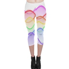 Twizzling Brain Waves Neon Wave Rainbow Color Pink Red Yellow Green Purple Blue Capri Leggings