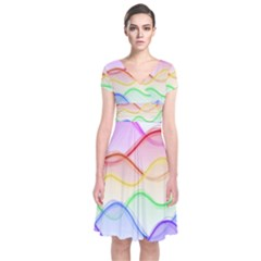 Twizzling Brain Waves Neon Wave Rainbow Color Pink Red Yellow Green Purple Blue Short Sleeve Front Wrap Dress
