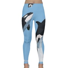 Whale Animals Sea Beach Blue Jump Illustrations Classic Yoga Leggings by Alisyart