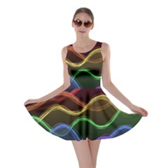Twizzling Brain Waves Neon Wave Rainbow Color Pink Red Yellow Green Purple Blue Black Skater Dress