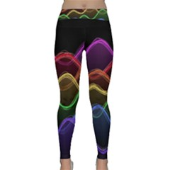 Twizzling Brain Waves Neon Wave Rainbow Color Pink Red Yellow Green Purple Blue Black Classic Yoga Leggings by Alisyart