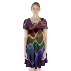 Twizzling Brain Waves Neon Wave Rainbow Color Pink Red Yellow Green Purple Blue Black Short Sleeve V-neck Flare Dress by Alisyart