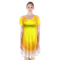 Sunlight Sun Orange Yellow Light Short Sleeve V Neck Flare Dress by Alisyart