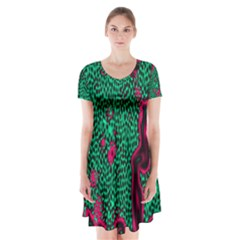 Reaction Diffusion Green Purple Short Sleeve V Neck Flare Dress by Alisyart