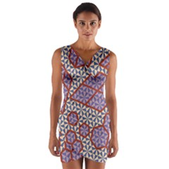 Triangle Plaid Circle Purple Grey Red Wrap Front Bodycon Dress