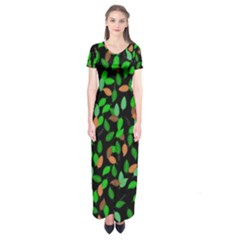 Leaves True Leaves Autumn Green Short Sleeve Maxi Dress