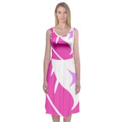 Bird Feathers Star Pink Midi Sleeveless Dress