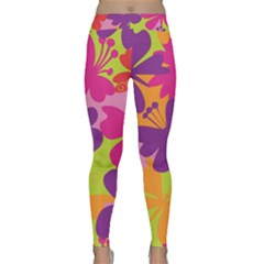 Butterfly Animals Rainbow Color Purple Pink Green Yellow Classic Yoga Leggings by Alisyart
