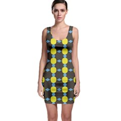 Blue Black Yellow Plaid Star Wave Chevron Sleeveless Bodycon Dress by Alisyart