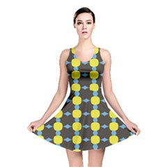 Blue Black Yellow Plaid Star Wave Chevron Reversible Skater Dress by Alisyart