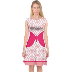 Butterfly Animals Pink Plaid Triangle Circle Flower Capsleeve Midi Dress