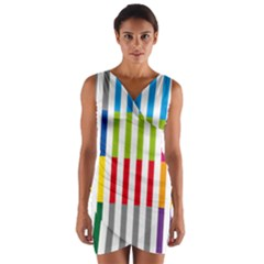 Color Bars Rainbow Green Blue Grey Red Pink Orange Yellow White Line Vertical Wrap Front Bodycon Dress by Alisyart