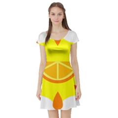 Citrus Cutie Request Orange Limes Yellow Short Sleeve Skater Dress by Alisyart