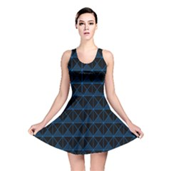 Colored Line Light Triangle Plaid Blue Black Reversible Skater Dress by Alisyart