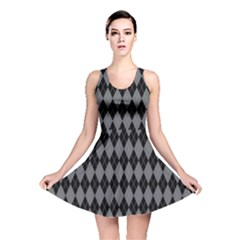 Chevron Wave Line Grey Black Triangle Reversible Skater Dress