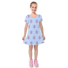 Flower Floral Different Colours Blue Purple Kids  Short Sleeve Velvet Dress by Alisyart